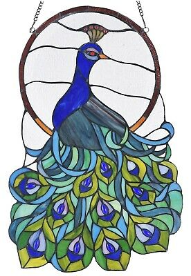 """23.8"""" x 15.4"""" Peacock Tiffany Style Stained Glass Window Panel"""
