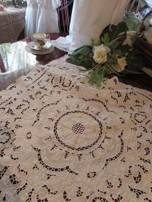 "Antique Stunning Cutwork Vintage Tablecloth Snow White Hand Embroidred 2'8""x2'8"""