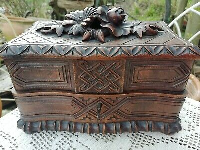 Antique Carved Flowers Black Forest Jewellery Box 3 Compartments With Key C 1900