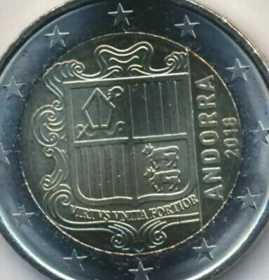 Andorra Coin 2€ Euro 2018 Current Shield Of Arms New UNC from Roll