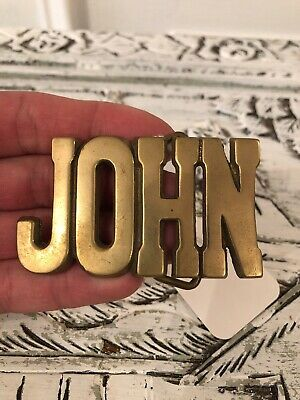 Vintage Cut-Out Name John Solid Brass Belt Buckle