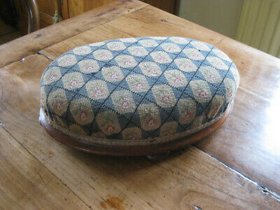 Vintage /antique Welsh Wool Tapestry Rare Oval Wooden Footstool