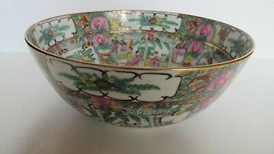 Antique Chinese Export Hand Painted Rose Medallion Bowl Figural Scenes Gilt 9""