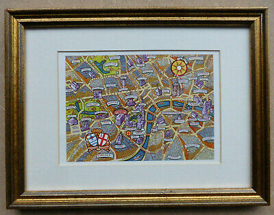 A small colourful pictorial map of Central London framed