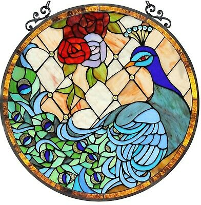 """24"""" x 23"""" Peacock Princess Tiffany Style Stained Glass Round Window Panel"""