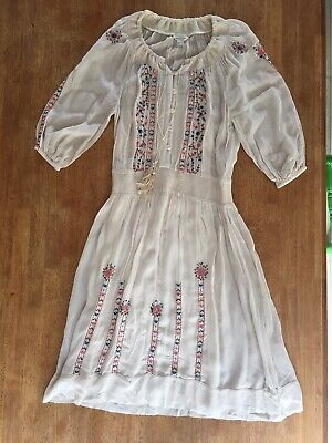 Ladies Boho Monsoon Dress Hippy With Slip Size 8