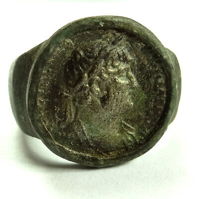 Roman Ancient Artifact Bronze And Silver Ring With Emperor Hadrianus