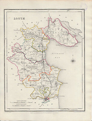 An attractive Irish county map of Louth by Richard Creighton c1845