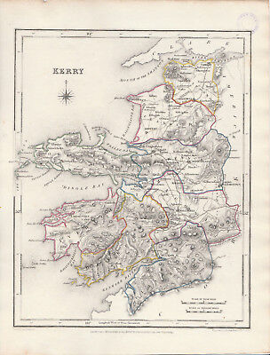 An attractive Irish county map of Kerry by Richard Creighton c1845