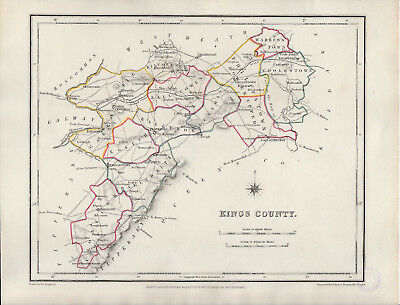 An attractive Irish county map of Kings County by Richard Creighton c1845