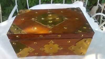 Heavy Vintage Hardwood Box Heavily Decorated With Brass & Stud Work