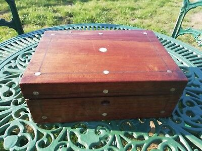 Victorian Mahogany Work Box Sewing Box Mother Of Pearl Inlay Restoration C 1880