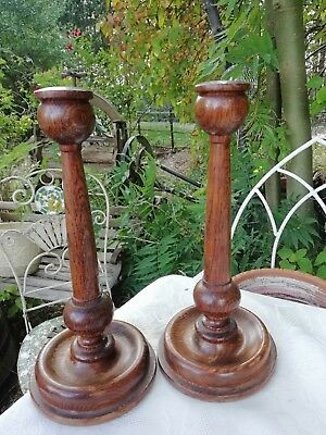 Pair of 1920's Art Deco Antique Turned Tapered English Oak Candlesticks VGC