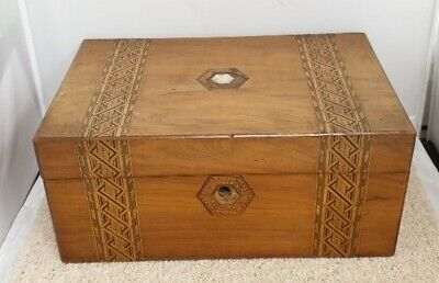 Antique Victorian Tunbridge ware Writing Slope Box For Restoration #602