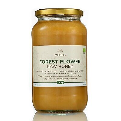 1.4kg Forest flower RAW ORGANIC Honey PURE NATURAL sweetener unpasteurized glass