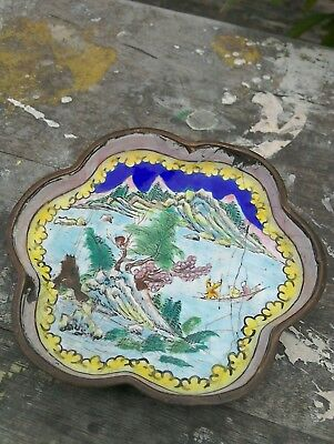 ANTIQUE 19th CENTURY CHINESE ENAMEL ON COPPER DISH/CATCHALL