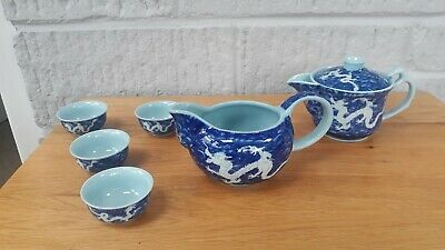 Chines Dragon & Fire Bird Design Tea Set. Blue On Blue Glaze. 7 Piece. Unusual.
