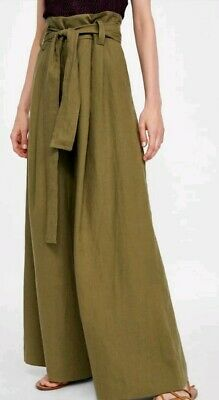 8679f781 ZARA KHAKI PURE LINEN HIGH WAISTED TROUSERS WITH BOW BELT SMALL PALAZZO  WIDE t