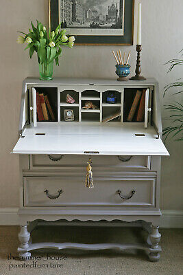 Pretty Vintage Writing Desk Bureau Chest of Drawers Painted in Farrow & Ball