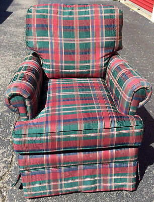Vintage Colourful Plaid Arm Style Sofa / Couch / Chair