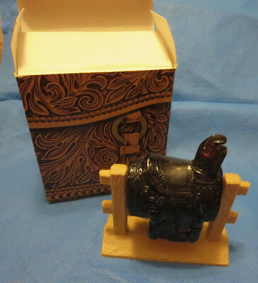 Avon Vintage Western Saddle Decanter (1971-72) w/ LEATHER After Shave   (Box 3)