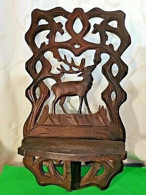 Antique Carved&Pierced Black Forest Style Wall Sconce Decorated with Stag/ Moose