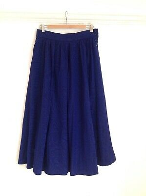 Jaeger Vintage Purple Full Long Skirt Size 16 Made In Great Britain