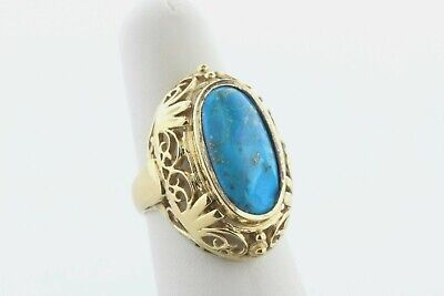 Large Filigree Style Gold Vermeil Sterling Silver 925 Oval Turquoise Ring Size 8