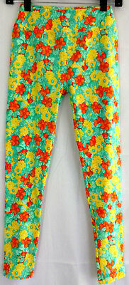 Lularoe OS One Size Leggings Green Orange Yellow Daisy Floral Flower Stretch