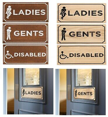 Wooden Door Toilet Sign Dark Oak Natural Thick Veneered wood Rustic Pub Café Bar