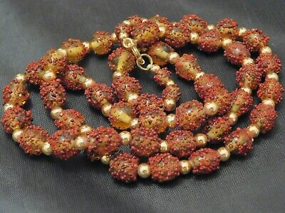 Vintage MCM Lamp Work Art Glass Beaded Necklace UNIQUE Brown Gold Detail