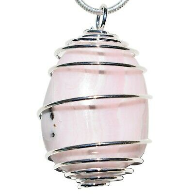 "Charged Fluorescent Pink Mangano Calcite Crystal Pendant™ + 20"" Silver Chain"