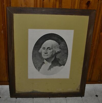 WPC ~ Large Framed Gilbert Stuart $1 George Washington Bust Lithograph