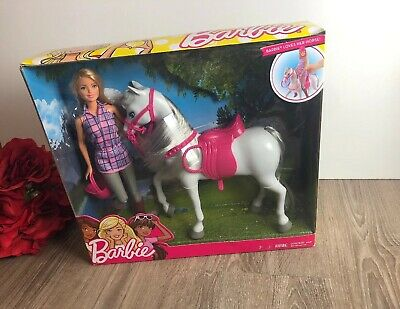 Mattel Barbie Doll Saddle and Ride Gray Toy Pony Horse Kid Child Play Set, Pink