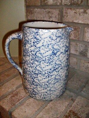 Antique Spongeware Pitcher Blue White Stoneware Crock Marshall Mint! Reduced!
