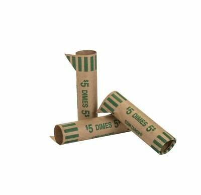 Coin-Tainer® Preformed Tubular Coin Wrappers, Dimes, Green, Box of 1,000