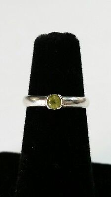 d382407a1 Tiffany & Co Sterling Silver & Green Peridot Gem Stacking Ring Size 4.75 ...