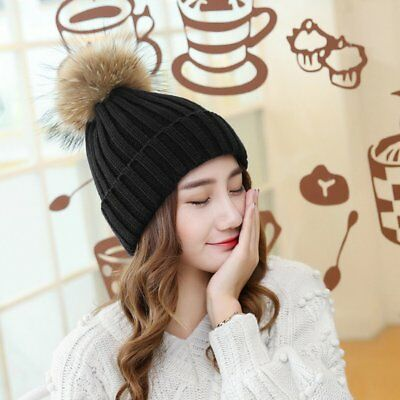 Winter And Autumn Large Sized Fur Hat With Fur 15cm Pompom Ball Top Beanies GE