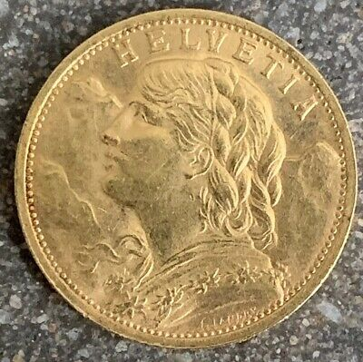 1898 B GEM Uncirculated HELVETIA Swiss 20 Francs Gold Coin