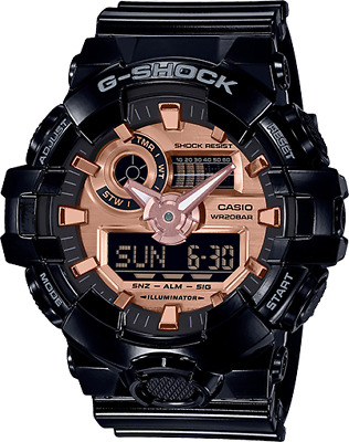 Casio G-Shock Analog-Digital GA700MMC-1A Black/Rose Gold Super Illuminator BNIB