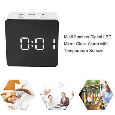 New Creative LED Digital Alarm Clock Night Lamp Thermometer Display Mirror Light