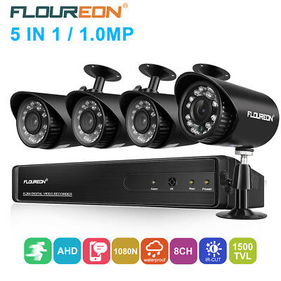 FLOUREON 8CH 1080N AHD DVR +4X HD 720P 1.0MP CAMÉRA Kit de sécurité CCTV DVR KIT