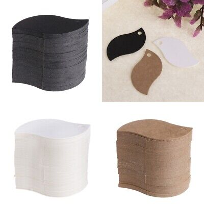 100Pcs DIY Kraft Paper Blank Card Hanging Tag Label Hole Gift Leaf Shaped Lot