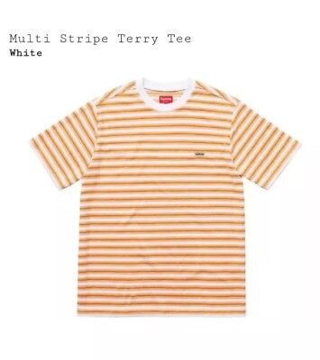0f4a7d9adb Supreme S/S 2018 Multi Stripe Terry Tee White Size LARGE ORDER CONFIRMED