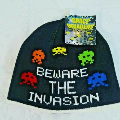 0a821bfc6e62d Official Taito Space Invaders Beanie Black Red Reversible Cotton Blend NWT