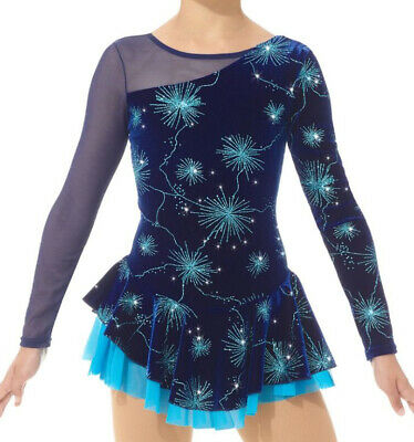 Mondor 12929 Ice Figure Skating Competition Dress Blue Sparks Baton Dance 12-14