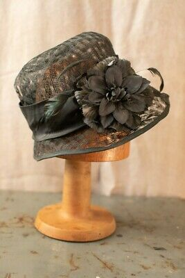 Womens Vintage Annie Colquitt Straw Black Cloche Hat- fits 58cm head