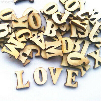 B473 100pcs Wooden Letters Alphabet Sticker Scrapbooking Decal Craft
