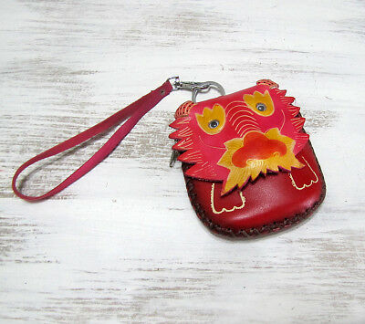 Free shipping/Cute red lion leather animal designs wallet with strap-lion purse