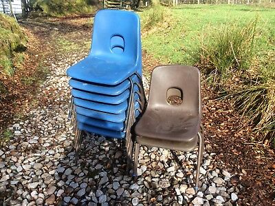 Vintage retro robin day design chairs stack of 7 chairs blue